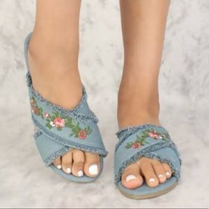 Shoes - Sexy Denim Frayed Floral Embroidered Sandals